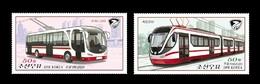 North Korea 2020 Mih. 6656/57 Trolleybus And Tram MNH ** - Korea, North