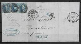 OBP15 (3x) Op Brief Uit 1863 (12 Juli) Vanuit Courtrai Naar Barcelonne (Spanje) Met Ambulant- En Aankomststempel - 1863-1864 Medallions (13/16)