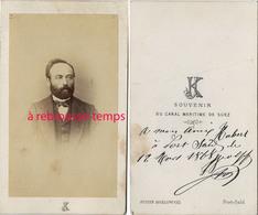 A Voir CDV EGYPTE En 1868-par Le Rare Photographe Justin Kozlowski à Port Saïd-souvenir Du Canal De Suez-homme - Photographs