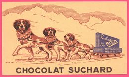 BUVARD Illustré - BLOTTING PAPER - SUCHARD Au Lait - Milka - Chocolat - Attelage - Chien Saint Bernard - Carte Assorbenti