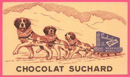 BUVARD Illustré - BLOTTING PAPER - SUCHARD Au Lait - Milka - Chocolat - Attelage - Chien Saint Bernard - Chien Traineau - Animales