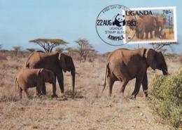 WWF, Uganda Kampala  1983, The African Elephant, Carte Maximum - Ouganda