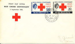 Mauritius FDC 2-9-1963 RED CROSS Complete Set Of 2 With Cachet - Mauritius (...-1967)