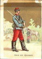 Image Chromo Soldat Train Des équipages Grande épicerie Centrale Maison A Maurice Fils Ernest Ghislard Argentan - Autres
