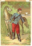 Image Chromo Soldat Chasseur D'Afrique Grande épicerie Centrale Maison A Maurice Fils Ernest Ghislard Argentan - Autres