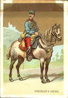 Image Chromo Soldat Chasseur à Cheval Grande épicerie Centrale Maison A Maurice Fils Ernest Ghislard Argentan - Autres