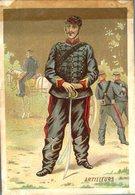 Image Chromo Soldat Artilleurs Grande épicerie Centrale Maison A Maurice Fils Ernest Ghislard Argentan - Autres