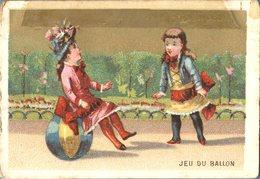 Image Chromo Enfant Jeu Du Ballon Grande épicerie Centrale Maison A Maurice Fils Ernest Ghislard Argentan - Autres