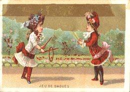 Image Chromo Enfant Jeu De Bagues Grande épicerie Centrale Maison A Maurice Fils Ernest Ghislard Argentan - Autres