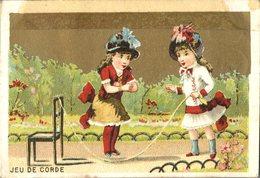 Image Chromo Enfant Jeu De Corde Grande épicerie Centrale Maison A Maurice Fils Ernest Ghislard Argentan - Autres