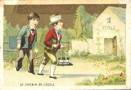 Image Chromo Enfant Chemin De L'école Grande épicerie Centrale Maison A Maurice Fils Ernest Ghislard Argentan - Autres