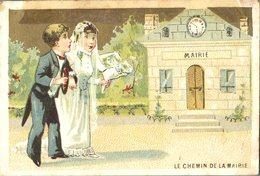Image Chromo Enfant Chemin De La Mairie Grande épicerie Centrale Maison A Maurice Fils Ernest Ghislard Argentan - Autres