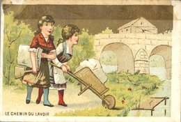Image Chromo Enfant Chemin Du Lavoir Grande épicerie Centrale Maison A Maurice Fils Ernest Ghislard Argentan - Autres