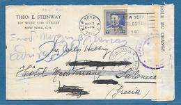 1940 U.S.A. NEW YORK TO GREEK - Etats-Unis