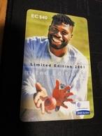 ANTIGUA  $40,- CHIPCARD CURTLY AMBROSE LIMITED EDITION        Fine Used Card  ** 637 ** - Antigua E Barbuda
