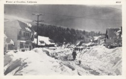 Crestline California, Winter Snow Street Scene 1940s Vintage Postcard - Stati Uniti