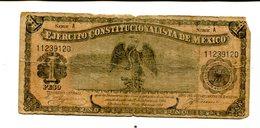 MEXICO 1 PESO 1914 EJERCITO CONSTITUCIONALISTA DE MEXICO VG 4.25 - Mexico