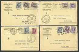 Lot 4 Cartes Commerciales Ets G. LALOUX à LIEGE Pour SAINT LOUIS - USA 1924 / Affr. 45c Tous Différents - Storia Postale
