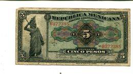 MEXICO 5 PESOS 1915 REPUBLICA MEXICANA F/VF 4.25 - Mexico