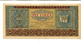 CZECHOSLOVAKIA 5000 KUNA PICK 13 VF+ 6.25 - Czechoslovakia