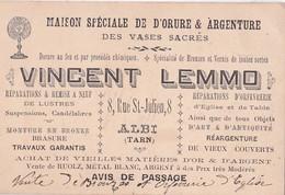 Avis De Passage VINCENT LEMMO Maison Spéciale De Dorure & Argenterie Des Vases Sacrés  8, Rue St Julien ALBI (Tarn) - Albi