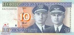 LITHUANIA 10 LITU 2001 PICK 65 UNC - Litouwen