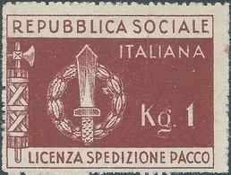 ITALY ITALIA,Social Republic License Parcel Shipment 1944 Issue Of Military Franchise, 1kg - Original Gum, MNH,Rare - 5. 1944-46 Lieutenance & Umberto II