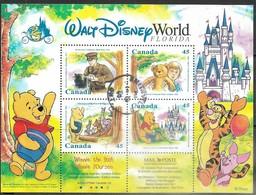 Canada  1996  Sc#1621b  45c Walt Disney World Sheet Of 4 Used  2016 Scott Value $7.50 - Used Stamps
