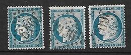 France   N°  60A; 60B Et 60 C  Oblitérés B/T B    Gros Chiffres     Soldé à Moins De  10%  ! ! ! - 1871-1875 Ceres