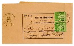 SEINE ET MARNE AVIS DE RECEPTION 1899 LIZY SUR OURCQ PLI PASSANT SUR TIMBRES SAGE - Storia Postale