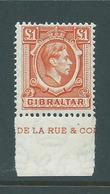 Gibraltar 1938 - 1949 Definitives 1 Pound KGVI Part Imprint Single FM - Gibraltar