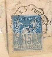 N°90 SUR FRAGMENT CACHET A DATE BELLE FRAPPE. - 1876-1898 Sage (Type II)