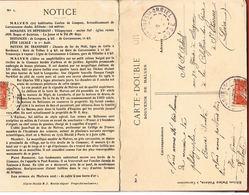 CPA 11-Carte Double MALVES- Aude- Le Chateau-L'Eglise - Voyagée 1909- Scans Recto Verso- Paypal Sans Frais - Altri Comuni