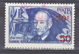 France 493a Papier Mince  Surchargés Ader Oblitération Rouge Used Cote 60 - Frankreich