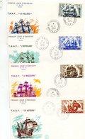 Terres Australes. Premier Jour Bateaux D'expedition (4 Cartes). 1974. - FDC