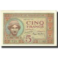 Billet, Madagascar, 5 Francs, 1937, KM:35, SPL - Madagascar