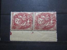 VEND BEAUX TIMBRES DE FRANCE N° 108 EN PAIRE + BDF , XX !!! - 1900-29 Blanc