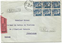 GANDON 5FR BLEU BLOC DE 6 LETTRE EXPRES PARIS 23.12.1947 POUR SUISSE AU TARIF - 1945-54 Marianne De Gandon