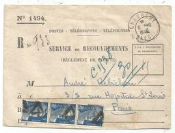 GANDON 5FR BLEUX3 OBL TRIANGLE PREO DE PARIS SERVICE DES RECOUVREMENTS CHAMBERY 6.12.1948 SAVOIE - 1945-54 Marianne De Gandon