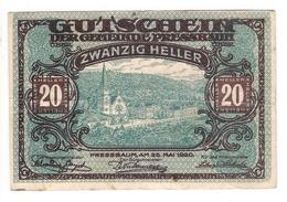 Österreich Austria Notgeld 20 HELLER FS784 PRESSBAUM /198M/ - Autriche