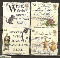 Grande-Bretagne Great Britain 1996 Poet Robert Burns Poet Set Complete Obl - 1952-.... (Elizabeth II)