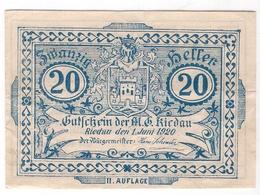 Österreich Austria Notgeld 20 HELLER FS837II RIEDAU /199M/ - Autriche