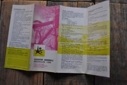 EXPO 58 Exposition Universelle Bruxelles 1958 Dépliant Les Expostions à Visiter Et Les Spectacles à Voir PLAN - Old Paper