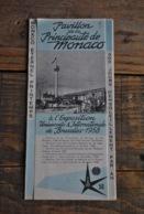 EXPO 58 Exposition Universelle De Bruxelles 1958 Dépliant Pavillon De La Principauté De Monaco Monte-Carlo - Old Paper