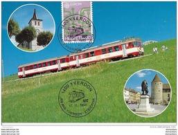"""98 - 83 - Carte Avec Oblit Spéciale """"100 Ans Train Yverdon-Ste-Croix 1993"""" - Postmark Collection"""