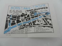 Carte  Dépliant  Hotel  De La Paix  Et De La Poste  Quimper - Dépliants Turistici
