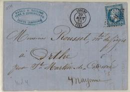 France Yv. 14 Sur Lettre LAC, PC 1541 Isigny, Calvados Dep. 13 Calvados, Pothion Ind. 4 EUR 17 (314) - 1849-1876: Classic Period