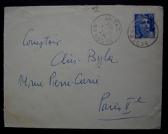 Séderon (Drôme) 1953 Cachet Du Docteur Froin Au Revers D'une Lettre Pour Paris - 1921-1960: Modern Tijdperk