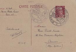20672# ENTIER POSTAL MARIANNE GANDON 3.50 Francs BRUN CARTON GRIS CARTE POSTALE E2 GRANDE BOURSE PHILATELIQUE PARIS 1947 - Entiers Postaux