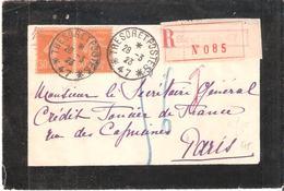 TRESOR ET POSTES * 47 * De SIEGBURG Sur Lettre Recommandée Surpaire Du 30csemeuse Camée Jaune - 1921-1960: Modern Tijdperk
